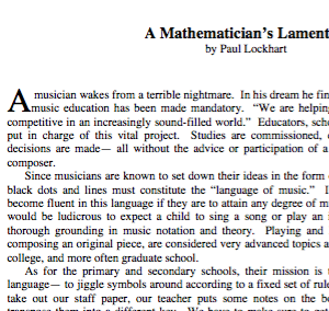 A Mathematician's Lament by P Lockhart